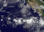 NASA sees Genevieve squeezed between 3 tropical systems